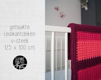 Crib blanket crochet v-stitch stripes pink red