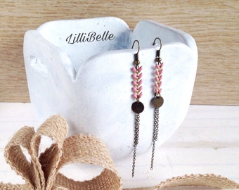 Old earrings pink long string epi brass - Bohemia, jewelry, Bohemian, gift idea, gift for her, Bohemian, retro chic