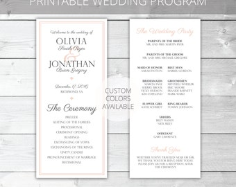 Blush/Gray Printable Wedding Program | Classic | Olivia Collection | Custom Colors Available