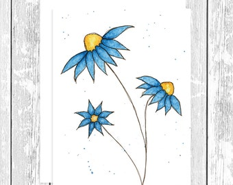 "NOTECARD: Whimsical Blue Daisies 4.25"" x 5.5"" A2 Greeting Card, Gift for Her, Gift for Friend, Gift for Mom, Gift for Flower Lover"