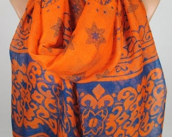 Soft scarf Orange Cobalt Blue Scarf Large Scarf Fall Winter Scarf Women Fashion Accessories Christmas Gift Ideas New Year Fashion MELSCARF