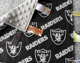 Oakland Raiders Baby Lovey/Blanket, Sensory Ribbons, Gray/Silver Minky Fabric, Sensory Lovey, Baby Shower, Raiders Baby, Sensory Blanket