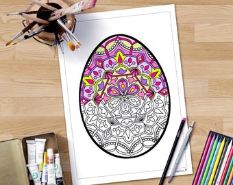 Easter Coloring Page For Adults Spring Egg Instant Download Crafts