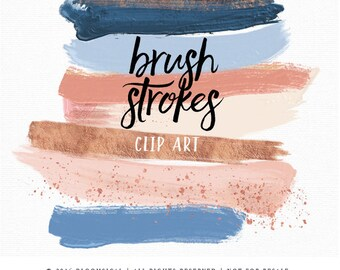 Blue Rose Gold Brush Strokes Clip Art | Hand Painted Cornflower Blue Marsala Acrylic Paint Graphic Elements | Digital Design Resource