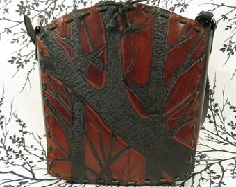 """Handmade Leather Purse ~ """"Sweet Sister Sidekick"""" ~  Tooled Trees Black/Maroon"""