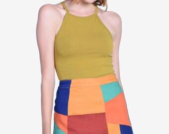 90s Deadstock Color Block Skirt