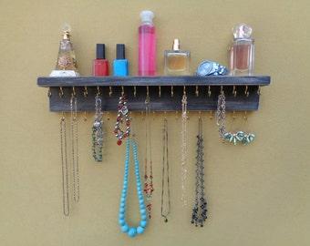 Jewelry Organizer - Necklace Holder - Jewelry Rack - Shelf - 35 Hooks - Shabby Black Finish - Hangers Installed - Many Other Colors Too