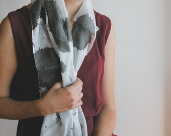 Hand Painted Silk shawl, black white scarf
