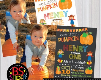 Our Little Pumpkin Invitation, Pumpkin 1st Birthday, Pumpkin 1st Birthday Invitation, Fall First Birthday Invitation