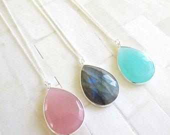 Gemstone Pendant Necklace  - Bridesmaid Jewelry - Tear Drop Necklace - Silver Necklace - Pendant Necklace