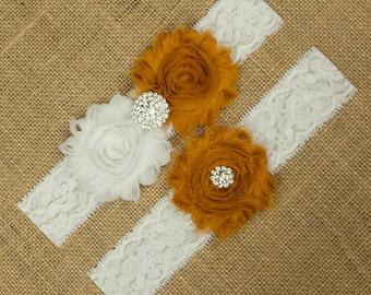 Wedding Garter, Gold Bridal Garter, Bridal Garter Set, Toss Garter, Keepsake Garter, Flower Garter, Bridal Garter, Wedding Garter, SCW1-O04