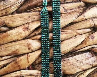Green metallic and Gold Tassel Earrings, Beaded Earrings, Dangle Long Earrings handmade, unique and stunning jewelry, beadwork