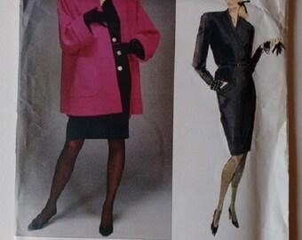 UNCUT Vintage Vogue Paris Original Yves Saint Laurent Pattern Jacket Coat and Dress Sizes Medium to Large
