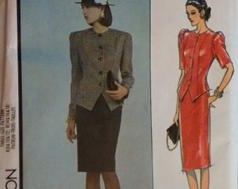 Vintage 1980's Style 4974 Sewing Pattern Ladies Suit Jacket Skirt