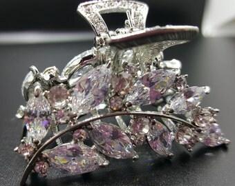 New Bridal Silver &  Crystal Leaf 2'' Hair Claw Clip