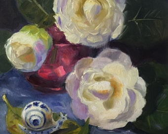 White Camellias 7x7 oil painting on masonite boardd