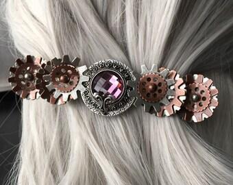Steampunk Hair Clip Purple - Steampunk Bent Gear Hair Clip - Steampunk Hair Accessories For Thick Hair Gear Hair Clip, Steampunk Accessories