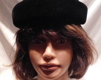 Vintage Hat Beehive Hat Black Velvet Cloche Hat