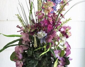 Coastal Floral Arrangement – Summer Floral Arrangement – Seaside Floral Arrangement – Beach Decor, Summer, Wisteria, Larkspur, Ivy, Bamboo