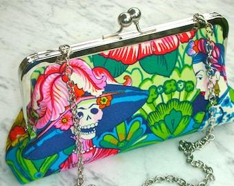 Metal-frame Clutch Frieda Kahlo evening green red blue silver wedding frame bag bridalclutch cosmeticbag frame handbag