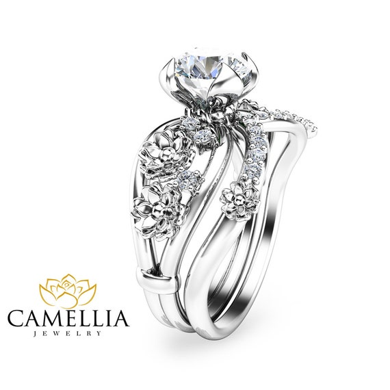 moissanite unique engagement ring set 14k white gold floral