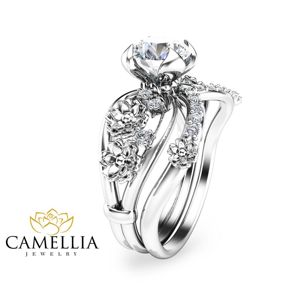 moissanite unique engagement ring set 14k white gold floral. Black Bedroom Furniture Sets. Home Design Ideas