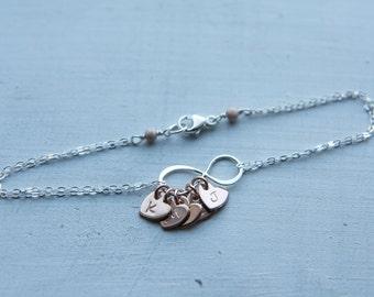 Personalized Infinity Heart Bracelet, Sterling Silver Infinity Bracelet, Rose Gold & Silver, Girlfriend Gift