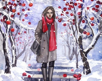 Snow White - ORIGINAL WATERCOLOR PAINTING teenage girl with apples and snow