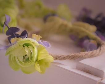 Newborn Photography Prop {Lime & Lavender Floral Halo}