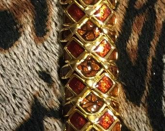 Vintage Joan Rivers Garnet-Colored Enamel and Goldtones Bracelet