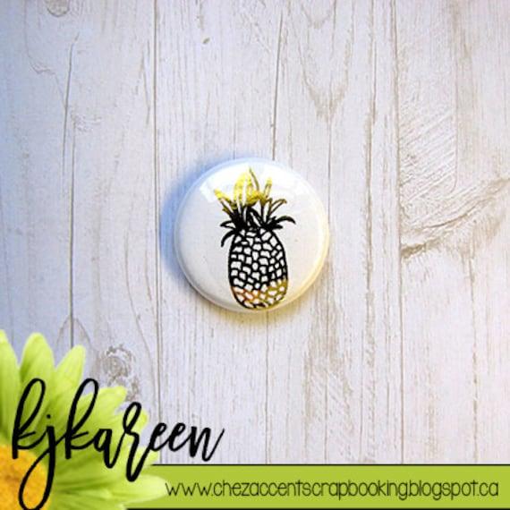 """Badge 1"""" - Ananas Métallique or"""