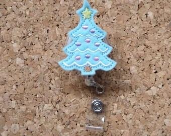 Christmas Tree Badge Reel, ID Badge Reel, Christmas Felt Badge Reel, Retractable Name Holder, Nurse Gift, Doctor Gift, LIGHT BLUE 575