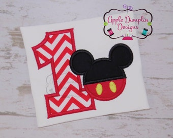 Mickey Mouse 1st Birthday Applique Design, Machine Embroidery Design, Boy Mouse, Boy Birthday Embroidery, Boy Applique, 4x4, 5x7, 6x10