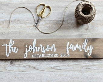 Family Name Sign Family Established Sign Family Established Wood Sign Rustic Home Decor