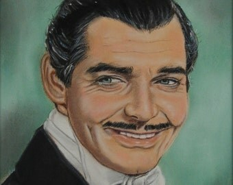 Rhett Butler Clark Gable Gone With The Wind Print of Pastel Painting Celebrity Classic Movie Stars Wall Decor