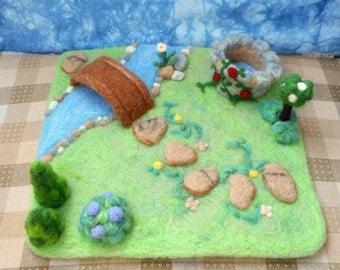 Needle Felt Wishing Well Garden Playscape - Waldorf inspired