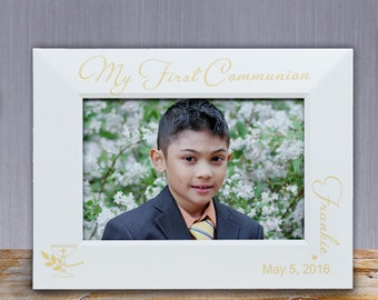 Engraved My First Communion White Wood Frame, First Communion Personalized Frame, Custom Communion White Frame