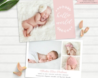 girl birth announcement, hello birth announcement, baby birth announcement, pink birth announcement template, hello world - INSTANT PSD