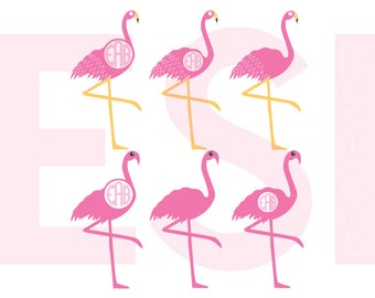 Flamingo svg, Flamingo Monogram svg, Bird svg, summer, svg cut files, SVG, DXF, EPS,  for use with Silhouette Studio & Cricut Design Space