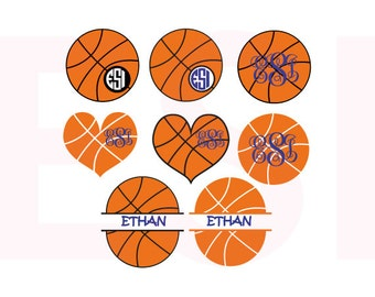 Basketball monogram SVG, DXF, EPS, vinyl cut files, Silhouette cameo and Cricut design space, For commercial use. Circle monogram frame.