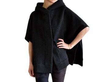 Black plaid cape, hooded poncho