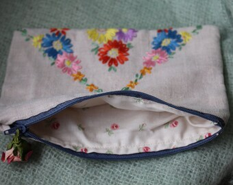 Vintage embroidered cosmetic purse