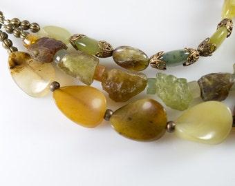 Burnt Jade Triple Strand necklace
