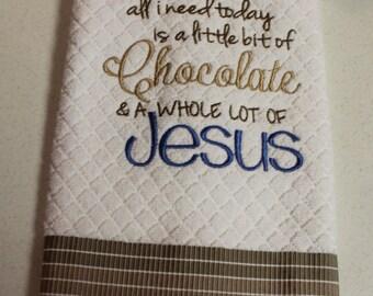 Embroidered Kitchen Towel, Kitchen Towel, Terry towel, Waffle Towel, Handmade, Chocolate, Jesus