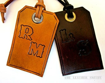 Hand Tooled Leather Personalized Luggage Tag, Luggage Tag with Initials, Baggage Tag, Customized Luggage Tag, Luggage Tickets,