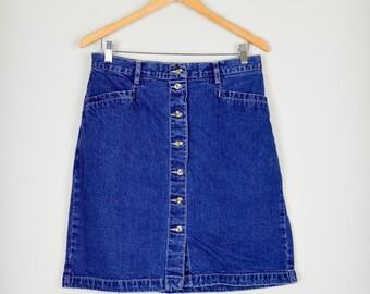 90s Denim Skirt, Jean Skirt, Vintage Clothing, 90s Clothing, Pencil Skirt, Vintage Skirt, 90s Clothes, Grunge, Medium, Large, High Waisted