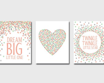 Set of 3 Nursery Prints Dream Big Little One Twinkle Twinkle Little Star Coral Mint Gray Silver Nursery Decorations Baby Girl Nursery Prints