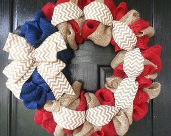 Patriotic Wreath, 4th of July, Red, White, and Blue