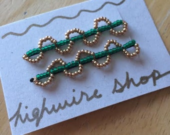 Wavy Teal and Gold Beaded Bobby Pins
