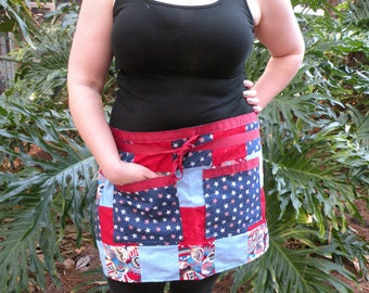 Patriotic - American - USA - Handmade - Patchwork - Half Apron (Red, White, Blue)
